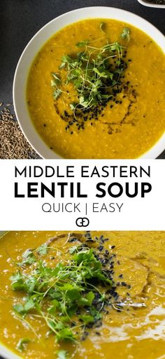 This authentic middle eastern lentil soup is made with red lentils, seasoned with cumin and turmeric! It's super quick and easy to do! Perfect for dinner! - This quick and easy middle eastern lentil soup is spicy and full of goodness! Tasty Vegetarian, Vegetarian Options, Lentil Soup Recipes, Healthy Lentil Soup, Chicken Soup Recipes, Easy Red Lentil Recipes, Persian Lentil Soup Recipe, Recipes With Cumin, Egyptian Red Lentil Soup Recipe
