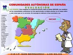 AUTOEVALUACIÓN.COMUNIDADES AUTÓNOMAS Teaching Spanish, Literature, History, Culture, Maps, Political Geography, Community, Interactive Map, Exercises