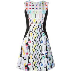 Peter Pilotto Abstract Print Dress ($690) ❤ liked on Polyvore featuring dresses, black, round neck sleeveless dress, peter pilotto dresses, abstract print dress, black skater skirt and circle skirt