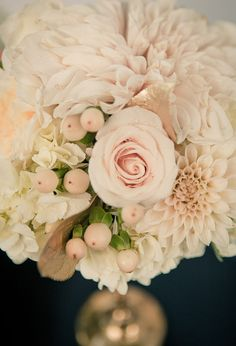 Pale blush roses and dahlias