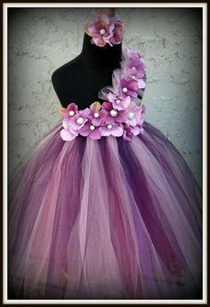 Purple pearl flower girl tutu dress by Gurliglam on Etsy