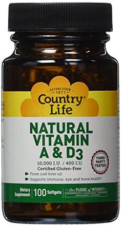 Country Life Vitamin A and D3 10000 iu400 iu 100Count * You can find out more details at the link of the image.