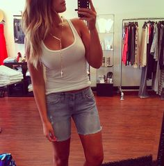 our favorite JET cutoffs! Boyfriend Shorts, Cutoffs, Jet, Basic Tank Top, Casual Shorts, Tank Tops, Women, Fashion, Moda