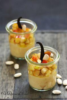 Crème de haricots Tarbais, pommes et poires sautées à la vanille