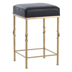 Arteriors 6994 Palmer 24 Inch Tall Leather Bar Stool Brushed Brass Furniture Seating Bar Stools
