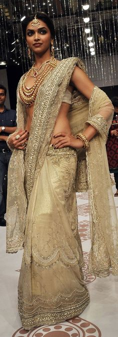 Elaborate embroidery on a very sophisticated cream colored sari.