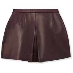 Vince Inverted Front Pleat Leather Skirt (36.290 RUB) ❤ liked on Polyvore featuring skirts, bottoms, shorts, burgundy, round skirt, knee length leather skirt, vince skirt, burgundy skirt and red leather skirt