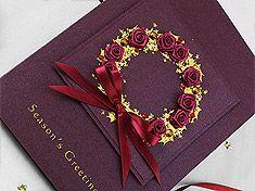 """Christmas Card """"Gold & Burgundy Christmas Wreath"""""""