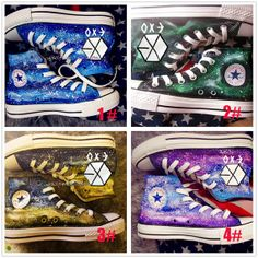 EXO galaxy converse galaxy shoes galaxy hand painted shoes galaxy converse shoe custom painted Four color can choosed