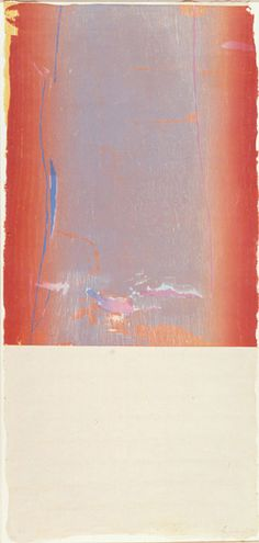 Helen Frankenthaler  Essence Mulberry State I, 1977  Woodcut printed in colors  On gray Maniai Gampi clay-coated handmade paper  39 3/8 x 18 1/2 inches  Edition of 10  Signed, dated and numbered in pencil