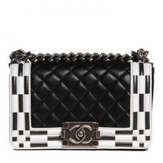 CHANEL Calfskin Checkerboard Trim Small Boy Flap Black White ❤ liked on Polyvore featuring bags, handbags, shoulder bags, quilted handbags, leather purse, chanel shoulder bag, chanel handbags and leather shoulder bag