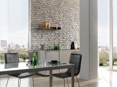Inspiring Wall Ideas With Interesting Faux Brick Panels: Contemporary Dining Room Design With Mid Century Dining Chairs And Faux Brick Panels
