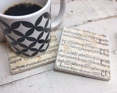 Music Note  - Sheet music - Handmade Natural Stone Coasters - Marble - Travertine - Home Decor - Housewarming - Yankee Swap - Christmas Gift by StampWithTiff on Etsy