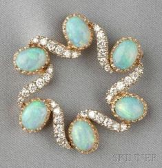 14kt Gold, Opal, and Diamond Pendant/Brooch, designed as a circle set with six oval cabochon opals, further set with full-cut diamond melee, 6.5 dwt, lg. 2 3/8 in. by fannie