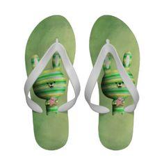 Cute Flip Flops for Women   Cute Striped Bunny Flip-Flops