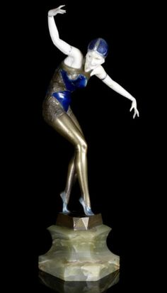 Art Deco Ferdinand Preiss Cabaret Girl: Carved Ivory & Cold-Painted Bronze Sculpture, circa 1925