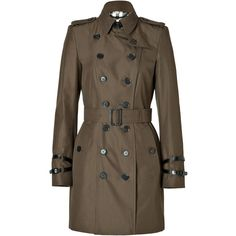 BURBERRY LONDON Cotton Short Queensborough Trench in Dark Khaki Green ($1,002) ❤ liked on Polyvore featuring outerwear, coats, jackets, burberry, coats & jackets, brown double breasted coat, green trench coat, stand collar coat, green coat and short trench coat