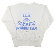 60's 前V セットインスリーブ ''OLYMPIC DRINKING TEAM'' 4段染み込み!スウェット 実寸(ML位)