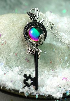 Stone of Rainbow's Fall Key Necklace by KeypersCove on Etsy