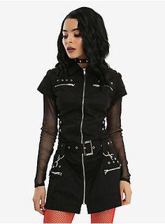 Re-agenz Minikleid Strict Way-Gothic-Club-Zipper-D-Ringe