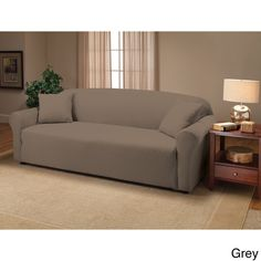 Stretch Jersey Sofa Slipcover.  47.  grey, for living room.