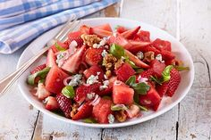 Summer Loving Strawberry Salad - omit all added salt; use low sodium goat cheese like all natural MontChevrel.  Suggested variation- before dicing watermelon, cut into rounds or wedges, brush with a little olive oil then drizzle with honey and spread evenly; grill till  slightly browned