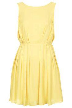 Love this: Pleated Mini Dress Beige Dresses, Cotton Dresses, Short Dresses, Summer Dresses, Pleated Dresses, Dresses Dresses, Fit N Flare Dress, Dress Backs, Yellow Dress