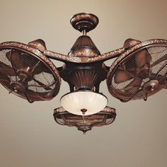 """38"""" Esquire Rich Bronze Finish 3-Head Ceiling Fan 