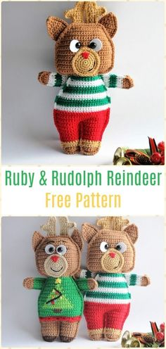 Crochet Ruby & Rudolph the Reindeer Amigurumi Free Pattern - Crochet Amigurumi Deer Toy Softies Free Patterns