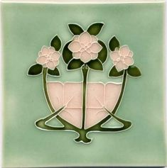 Helpful Tile Vintage Ceramic Majolica Japan Rose Green Color Art Nouveau Collectible#270 Latest Technology Antiques