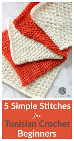 5 Simple Stitches for Tunisian Crochet Beginners - By now, you're probably stitching along blissfully on a Tunisian simple stitch scarf/blanket usin - Crochet Afghans, Tunisian Crochet Patterns, Crochet Patterns For Beginners, Crochet Basics, Crochet Tutorials, Tunisian Crochet Blanket, Crochet Stitch Tutorial, Crochet Ideas, Crochet Stitches For Blankets
