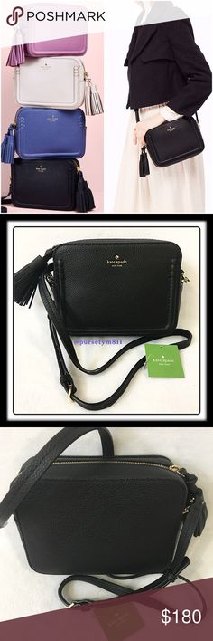 """Authentic Kate Spade Black Leather Bag AUTHENTIC. Gorgeous & luxurious black leather handbag from Kate Spade. Approximate measurements: Length 8"""" Height 6"""" Width 2 3/4"""" w/ adjustable & detachable long strap. Pocket inside w/ front exterior compartment. Zipper top closure. Yellow gold tone hardware. New w/ tag and dust bag. kate spade Bags"""