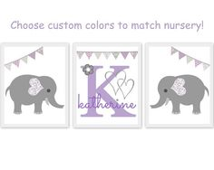 elephant nursery theme, set of prints, baby room artwork, elephants, purple, gray and lavender, bunting, monogram, personalize, choose custom colors