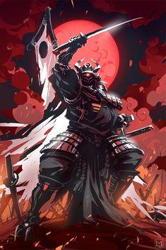 Samurai designed by LifelessMech - posted under Digital Art by Fribly Editorial Ronin Samurai, Samurai Warrior, Samurai Concept, Samurai Wallpaper, Samurai Artwork, Ninja Art, Japanese Warrior, Samurai Tattoo, Dark Fantasy Art