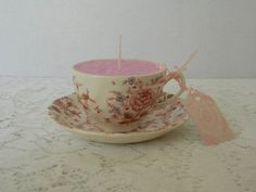 Tea Cup and Saucer Set, Soy Candle, Johnson Brothers, Pink Chintz Pattern, English Earthenware China, Rose Scent, Free Shipping