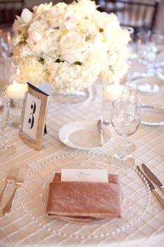 Cream Rose and Hydrangea Arrangement Reception Decor | photography by http://jessicalewisphoto.com/