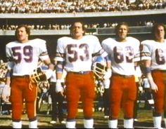 Linebackers JOE RIZZO (59) and RANDY GRADISHAR (53), guard TOM GLASSIC (62) and defensive lineman JOHN GRANT (63) await the start of a 1978 game!!
