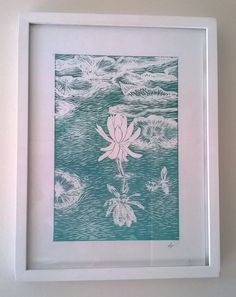 Water Lily, New Forest, Linocut Print by Laura Young - Magnolia Lily.
