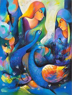 Buy Gossip 4 artwork number a famous painting by an Indian Artist Sanjay Tandekar. Indian Art Ideas offer contemporary and modern art at reasonable price. Buddha Kunst, Buddha Art, Krishna Painting, Krishna Art, Art And Illustration, Rajasthani Painting, Indian Folk Art, India Art, Indian Art Paintings