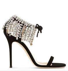 Featured Shoes: Giuseppe Zanotti; Shoes; Black stiletto sandal heels.