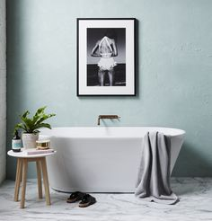 Bathroom Inspiration Perfection. Our Marble side table featured in Real Living Magazine styled by Kerrieann Jones.