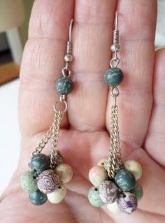 Vintage Silver Tone Handmade Beaded Dangle Earrings. by Bestintreasures on Etsy
