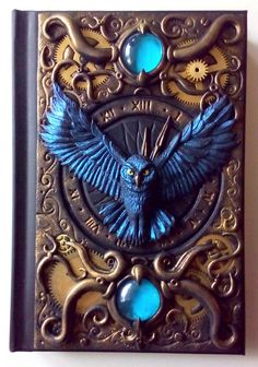 13 hours clock with owl polymer clay journal notebook by ClaymanPL