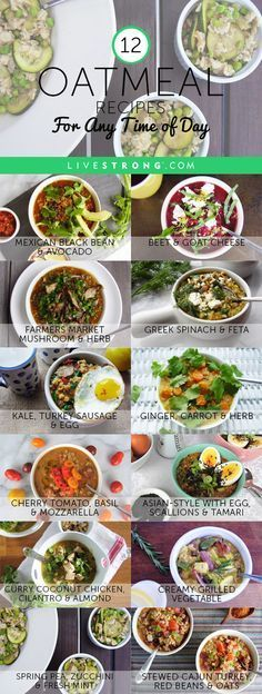 12 creative and comforting oatmeal bowls to enjoy anytime -- for breakfast and beyond. By @jackienewgent: http://www.livestrong.com/slideshow/1011757-12-easy-savory-oatmeal-recipes-time-day