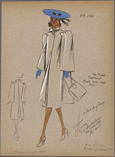New sleeve treatment - André Studios 1940's Fashion, Fashion History, Vintage Fashion, Fashion Design, Dress Sketches, Fashion Sketches, Vintage Love, Vintage Sewing Patterns, Fashion Pictures