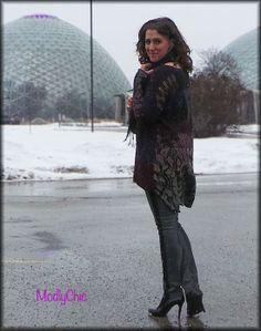 Hi-lo Free People sweater, tuxedo-style skinny pants, black scarf. #OOTD #winter