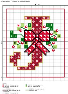 alfabeto dei fiocchetti natalizi J