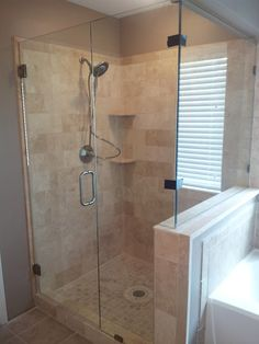 great job these two did retiling their own shower stall, turned out great