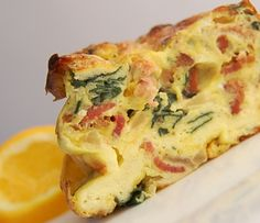 Savory Spinach Frittata with Bacon and Cheddar: Spinach frittata recipe.