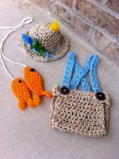 Handmade, Crochet newborn fishing outfit, Fly fishing hat, Photo prop, Fishing Hat, Fisherman outfit, Newborn Boy outfit by sheila.moose